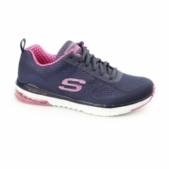SKECH AIR INFINITY Ladies Lace Up Trainers Navy/Hot Pink