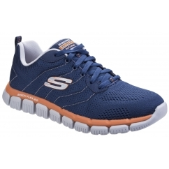 SKECH-FLEX 2.0 MILWEE Mens Sports Trainers Navy/Orange
