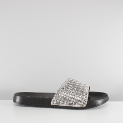 Skechers 2ND TAKE SUMMER CHIC Ladies Embellished Slide Sandals Black/Silver