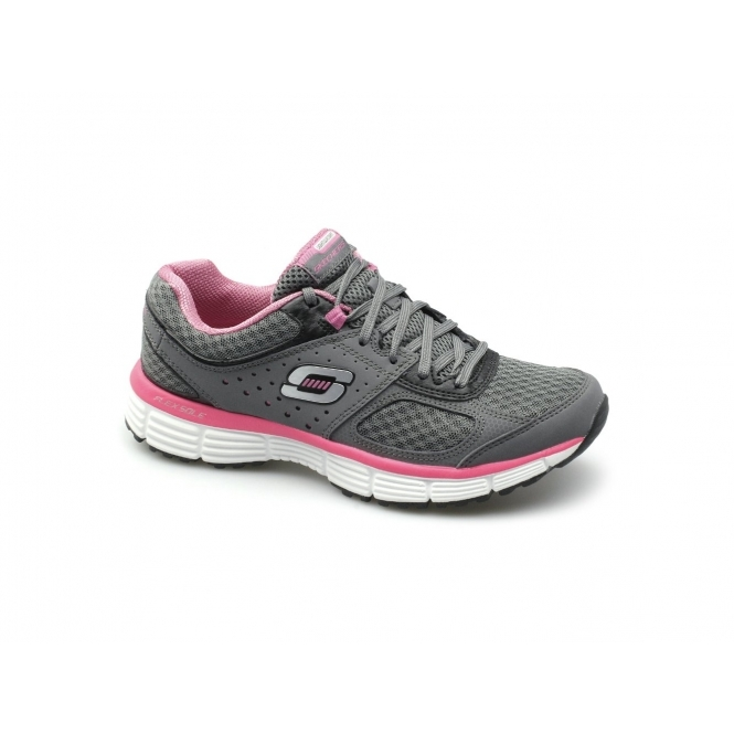 on sale d52cd 0747f Skechers AGILITY PERFECT FIT Ladies Trainers Charcoal   Shuperb