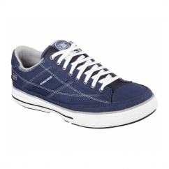Skechers ARCADE CHAT MEMORY Mens Canvas Lace Up Shoes Navy