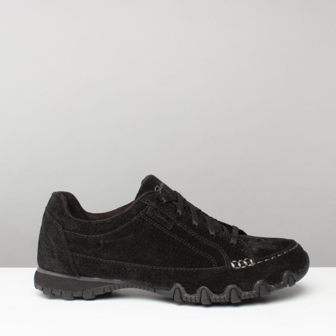 98c70d940201 Skechers BIKERS CURBED Ladies Suede Leather Trainers Black