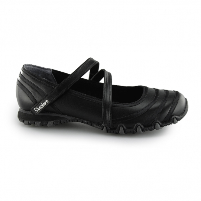 skechers womens black leather shoes