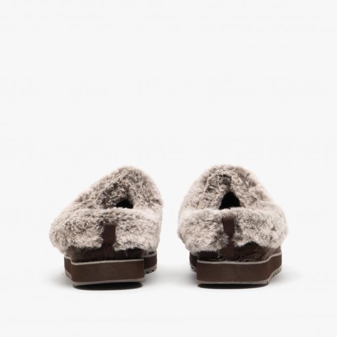 cueva emparedado garrapata  Skechers BOBS KEEPSAKES-ICE ANGEL Ladies Mule Slippers Chocolate| Shuperb
