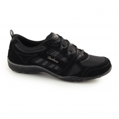 BREATHE EASY GOOD LUCK Ladies Lace Up Trainers Black