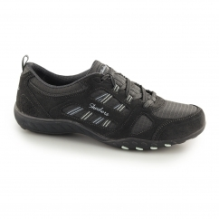 BREATHE EASY GOOD LUCK Ladies Lace Up Trainers Charcoal