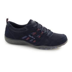 BREATHE EASY GOOD LUCK Ladies Lace Up Trainers Navy