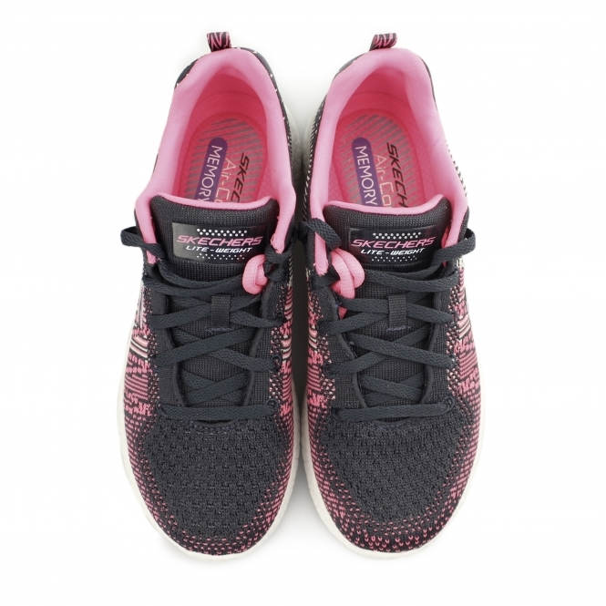 7e3b8355dbde Skechers BURST - ELLIPSE Ladies Lace Up Trainers Charcoal Pink