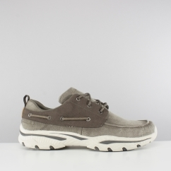 Skechers CRESTON VOSEN Mens Boat Shoe Trainers Taupe