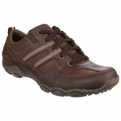 Skechers DIAMETER SELENT LACE UP SHOE Mens Shoes Dark Brown | Shuperb