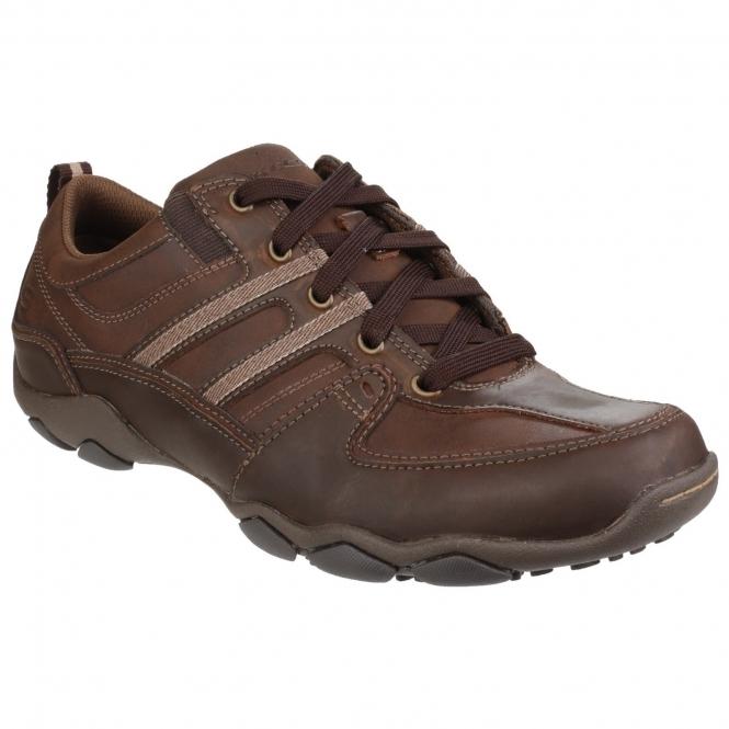 95c66dc03fa2 Skechers DIAMETER SELENT Mens Leather Casual Shoes Dark Brown