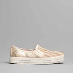 e3232c82adcf60 DOUBLE UP SHINY DANCER Ladies Casual Trainers Rose Gold