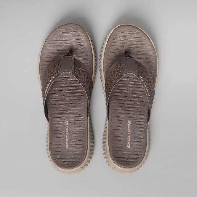 03f7ee5947f1 Skechers ELITE FLEX COASTAL MIST Mens Flip Flop Sandals Brown