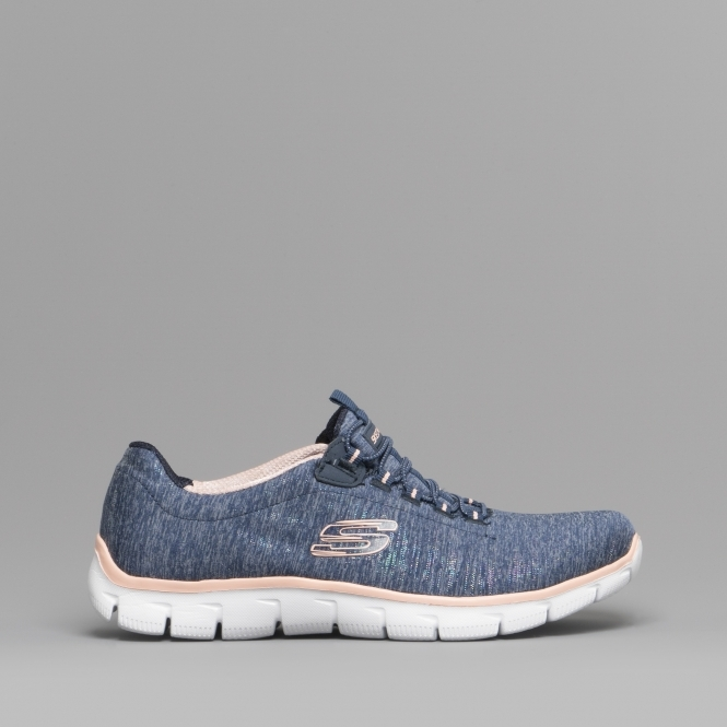 12776d246d3 Skechers EMPIRE SEE YA Ladies Slip On Trainers Navy/Coral | Shuperb