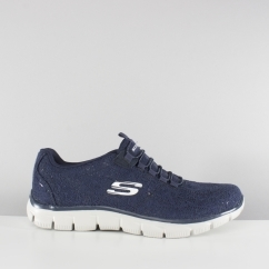 Skechers EMPIRE SPRING GLOW Ladies Crochet Trainers Navy