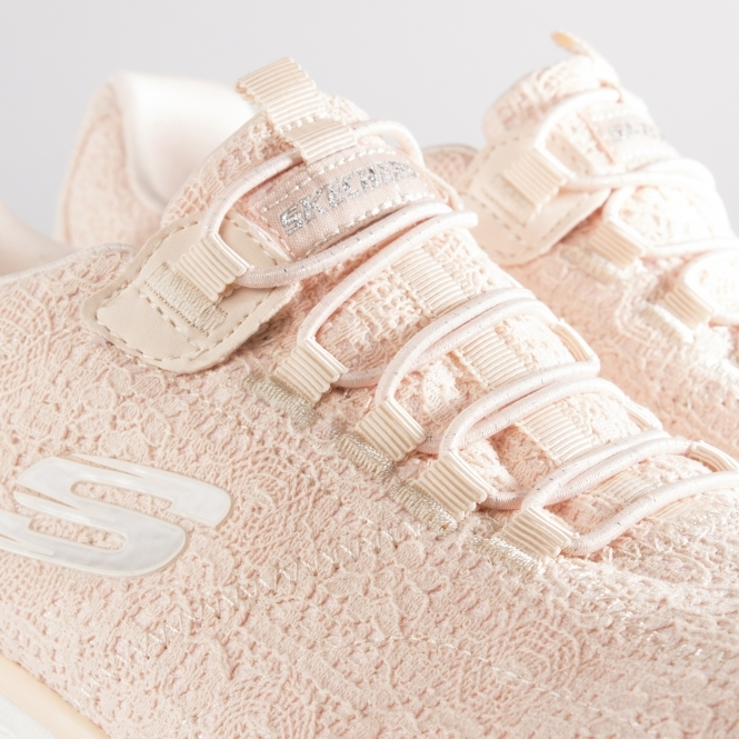 c5d4ddfddb65 Skechers EMPIRE SPRING GLOW Ladies Crochet Trainers Peach