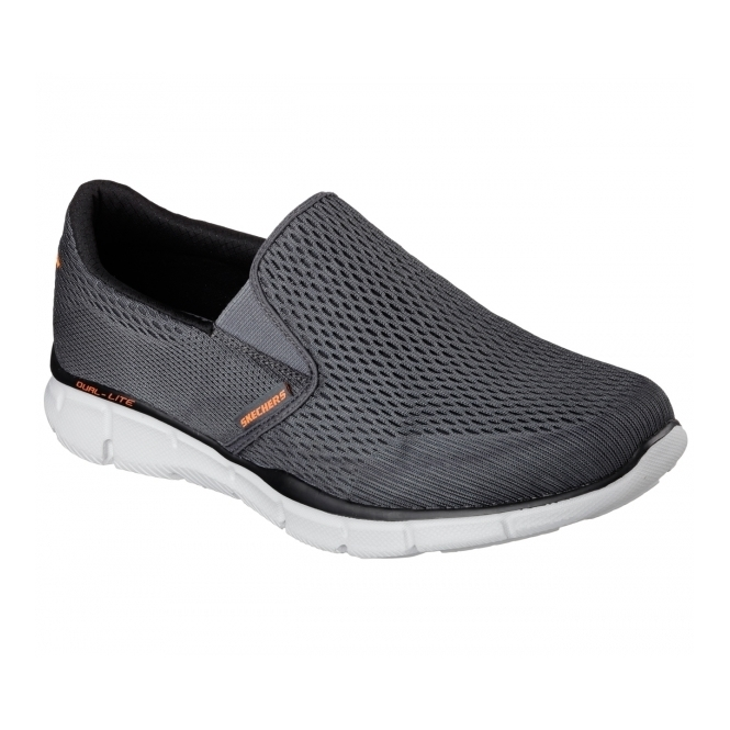 Skechers EQUALIZER-DOUBLE PAY Mens Walking Trainers Charcoal/Orange