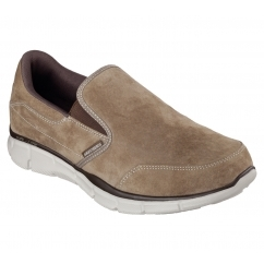 Skechers EQUALIZER-MIND GAME Mens Suede Comfort Loafers Brown