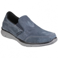 Skechers EQUALIZER-MIND GAME Mens Suede Comfort Loafers Navy