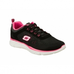 EQUALIZER NEW MILESTONE Ladies Lace Up Trainers Black/Hot Pink