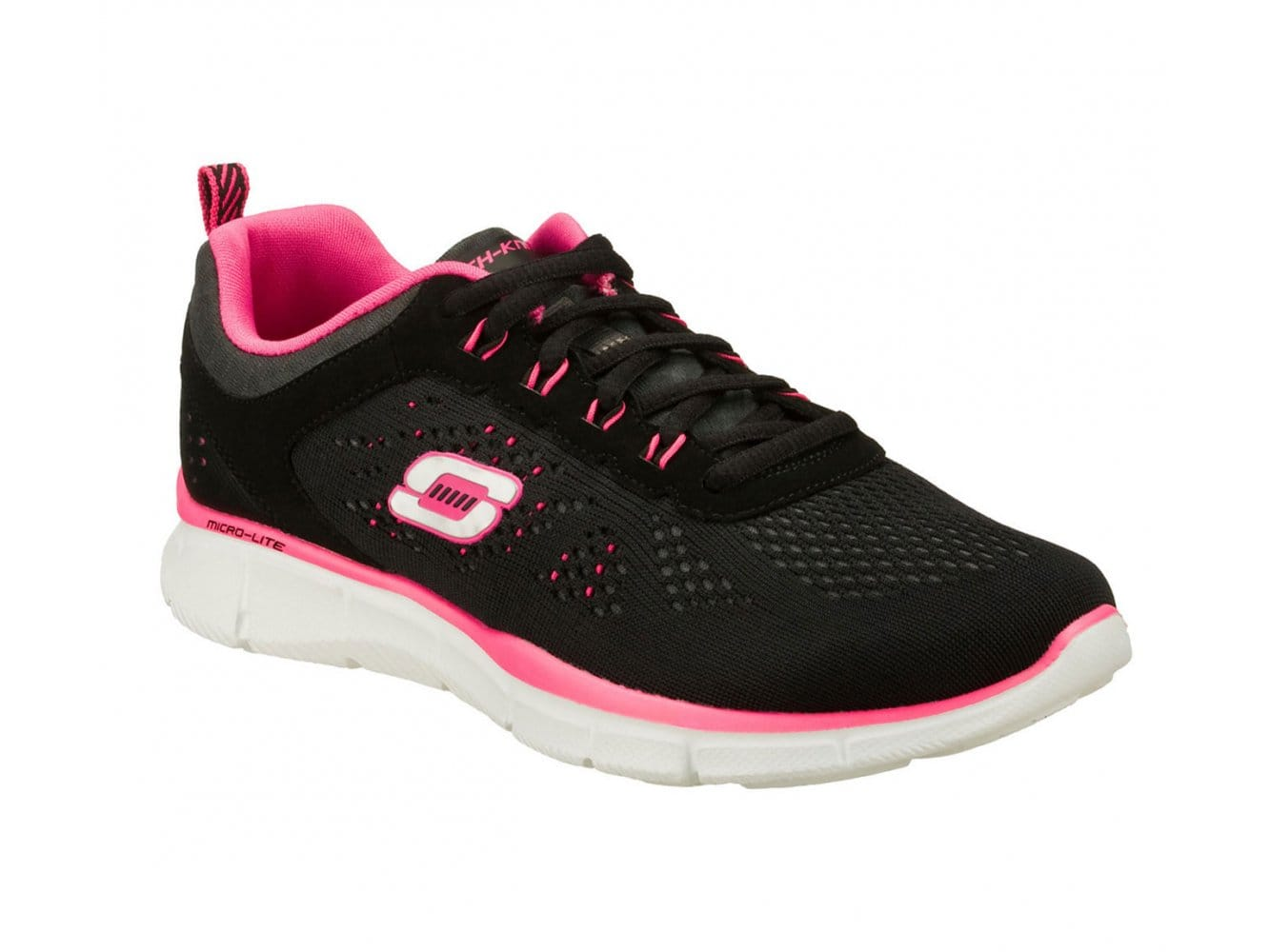 Skechers EQUALIZER NEW MILESTONE Ladies Lace Up Trainers BlackHot Pink