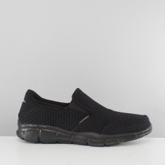 Skechers EQUALIZER SLICKSTER Mens Knitted Slip On Trainers Black