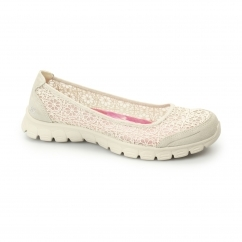 Skechers EZ FLEX 3.0-MAJESTY Ladies Crocheted Pumps Natural