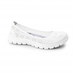 Skechers EZ FLEX 3.0-MAJESTY Ladies Crocheted Pumps White