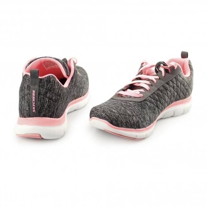 Skechers FLEX APPEAL 2.0 Ladies Sports Trainers Black Coral  00a21b8366b5