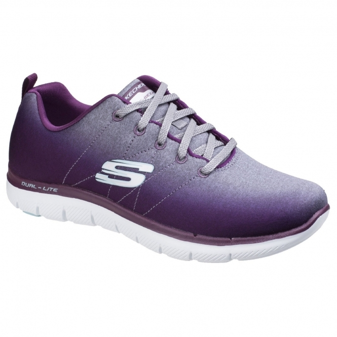 8993c4bbef6 ... Cheap  save off e1f57 a82dd Skechers Flex Appeal 2.0 Bright Side Ladies  Trainers BurgundyGrey  separation shoes ...