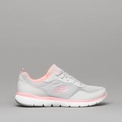 8129c2b13b8 Skechers FLEX APPEAL 3.0 GO FORWARD Ladies Trainers Light Grey Hot Pink -  13069