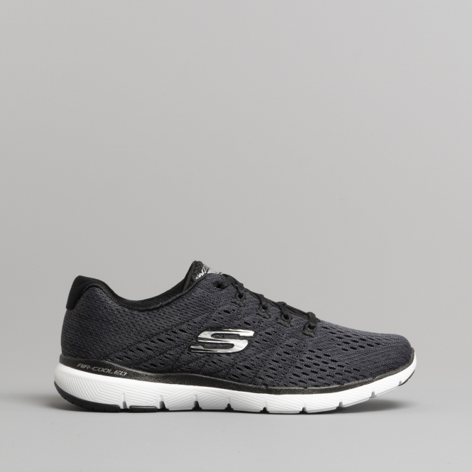 d8b62f9d212 Skechers FLEX APPEAL 3.0 - SATELLITES Ladies Trainers Black/White | Shuperb