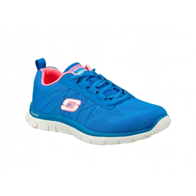 304884a63bcd Skechers FLEX APPEAL SWEET SPOT Womens Trainers Blue Hot Pink