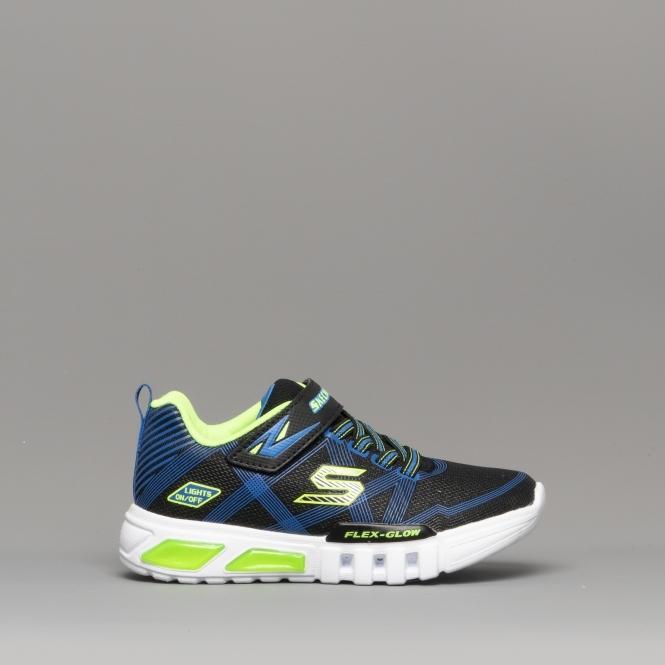9aa92cb3c Skechers FLEX-GLOW Boys Light Up Trainers Black/Blue/Lime | Shuperb