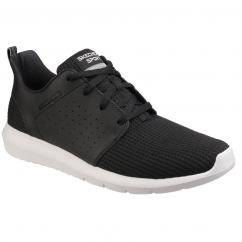 Skechers FOREFLEX Mens Leather/Mesh Trainers Black/White | Shuperb