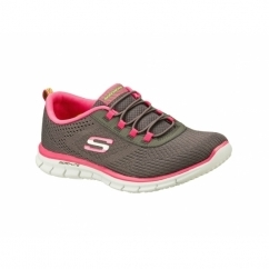 GLIDER GAME MAKER Ladies Slip On Trainers Grey/Hot Pink