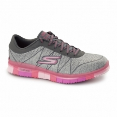 GO FLEX WALK - ABILITY Ladies Lace Up Trainers Grey/Hot Pink