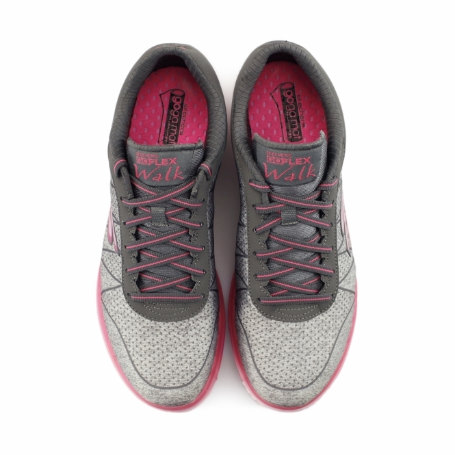 5e3c144f3c2c Skechers GO FLEX WALK - ABILITY Ladies Lace Up Trainers Grey Hot Pink