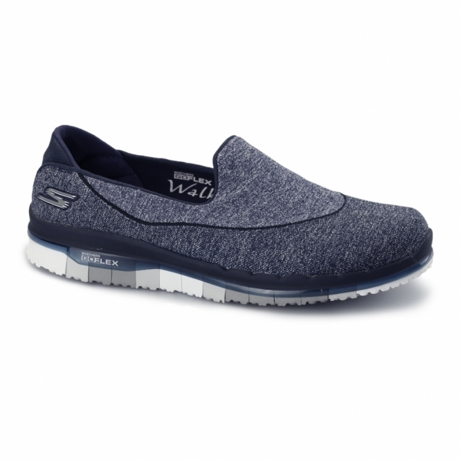 on feet at outlet store sale big discount GO FLEX WALK Ladies Slip-On Trainers Navy/Grey