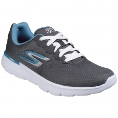 Skechers GO RUN 400 ACTION Ladies Fitness Trainers Charcoal/Blue