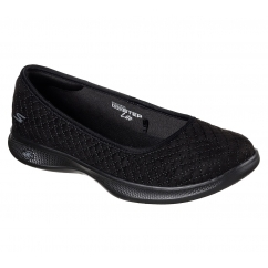 Skechers GO STEP LITE - ADORED Ladies Slip On Trainers Black | Shuperb