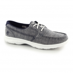 GO STEP MARINA Ladies Lace Up Boat Shoes Navy