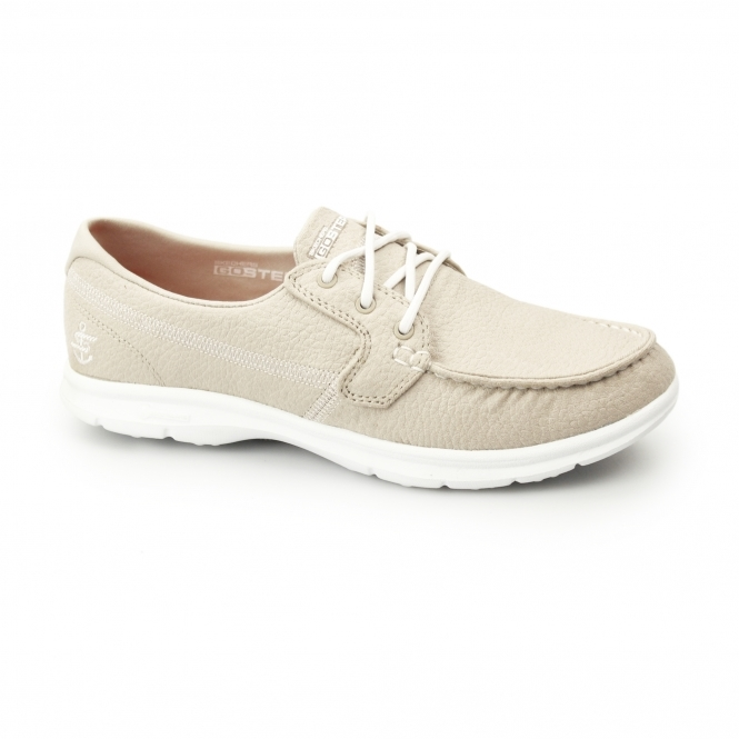 d8185d3db09ad Skechers GO STEP - RIPTIDE Ladies Lace Up Boat Shoes Natural | Shuperb