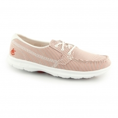 GO STEP SANDY Ladies Pinstripe Boat Shoes Red/White