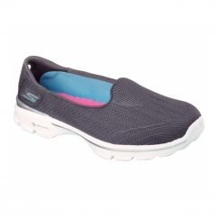 GO WALK 3 INSIGHT Ladies Slip-On Walking Shoes Charcoal