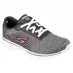 GO WALK 4 - EXCEED Ladies Lace Up Walking Trainers Black/Hot Pink
