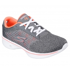 GO WALK 4 - EXCEED Ladies Lace Up Walking Trainers Charcoal/Coral
