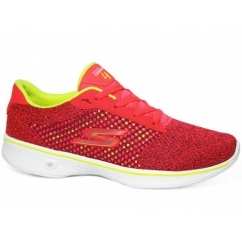 GO WALK 4 - EXCEED Ladies Lace Up Walking Trainers Pink/Lime