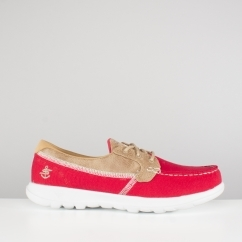 Skechers GO WALK LITE Ladies Boat Shoes Red