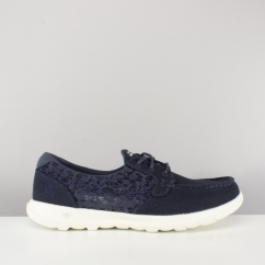Skechers GO WALK LITE Ladies Crochet Boat Shoes Navy